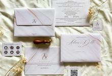 Adrian & Della's wedding invitation by Moria Invitation