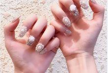 Nail Art - 24 Kuku Palsu white silver Dengan taburan mutiara dan berlian imitasi by Triwindu shop