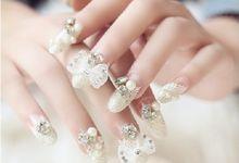 nail art- 24 pcs kuku palsu dengan model clear white buterfly tie yang mewah by Triwindu shop