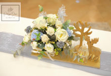Dusty blue theme solemnisation table setup by Patson Decor