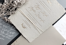 Rustic Invitation With Handmade Paper by Pensée invitation & stationery