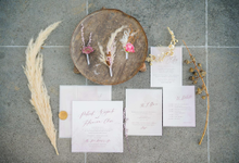 romantic mauve with pampas grass by Pensée invitation & stationery
