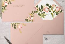Peach Peony by Trouvaille Invitation