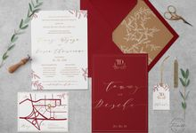 Maroon Red Botanical by Trouvaille Invitation