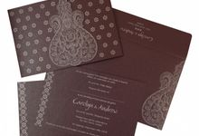 Wedding invitation design for Carolyn & Andrew wedding by 123WeddingCards
