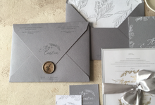 Dusty blue simply invitation by Rose and Paperie