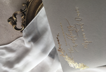 Stunning gold and grey invitation by Rose and Paperie
