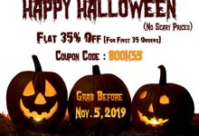 Halloween Sale 2019 Flat 35 Percent Discount on Invitation Cards by 123WeddingCards