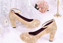 Sepatu Chunky Brukat Gold by SLIGHTshop.com