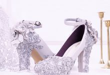 Sepatu Chunky PomPom Brukat Silver by SLIGHTshop.com