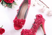 Sepatu Peeptoe Floraison Merah by SLIGHTshop.com