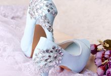 Sepatu Peeptoe Floresco Biru by SLIGHTshop.com