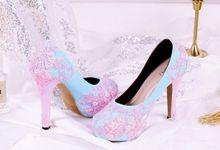 Sepatu Platform Brukat Pink Biru by SLIGHTshop.com