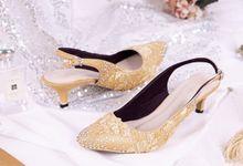 Sepatu Slingback Brukat Gold by SLIGHTshop.com