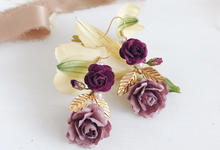 Maroon Burgundy Gold earrings  by Serenity Wedding