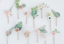 Blush hair pins with peonies, roses, eucalyptus  by Serenity Wedding