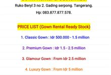 Pricelist (Daftar Harga) by Golden Phoenix Rent Gown