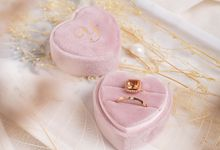 Velvet Ring Box (Heart) with monogram by Box Of Love