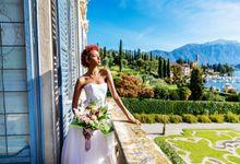 A romantic elopement on Lake Como by La Nuova Sartoria. Talea Couture
