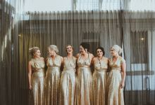 Taytes Bridesmaids in Champagne Sequins Dresses by Goddess By Nature