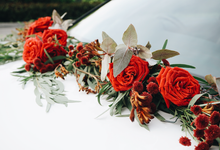 Bridal Car Dressed with Rustic Red Runner  by The Bloomish Eden