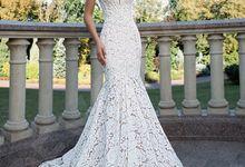 Elegant Trumpet Mermaid silhouette Azura wedding dress by DevotionDresses