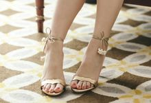 Pearls Embellished Sandals by Christin Wu