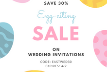 Easter Savings Flat 30 percent Off on Wedding Invites at 123WeddingCards by 123WeddingCards