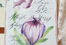 Protea Hand Painted Wedding Invitations Suite by Crimson Letters