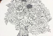 Custom Bridal Bouquet Paintings  by Down Ellis Lane - Art By Dianne White