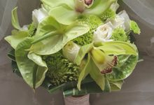 Green Tropical Bridal Bouquet by Amaryllis Floral Art