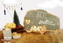Personalized Vintage Camper Van Wedding Guest Book Alternatives Drop Top Wooden Hearts by Soul Crafty