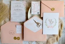 Blush Pink Rose Wreath by Trouvaille Invitation