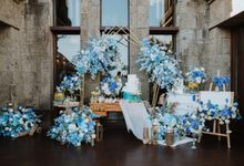 Blue White Elegant Wedding Ceremony Decoration by Bali Wedding Service