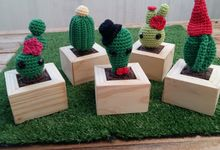 Cute Cactus With Wooden Pot by Segi Frames