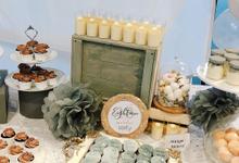 Marble theme birthday party dessert table by Yoyosummer