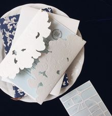 Daniel Astrid - white blue orchid by Pensée invitation & stationery