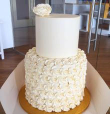 Cream-coloured Wedding Cake for Bernadette & Ivan by Ugly Cake Shop