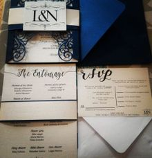 Silver and Midnight Blue  Four Fold Wedding Suite by Ribbons and Prints
