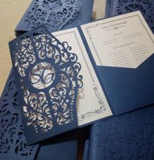 Pocket fold invitation by Ribbons and Prints
