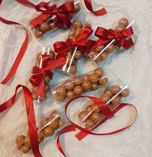 Clear Canister Chocolate Favors by Megabites Chocolate