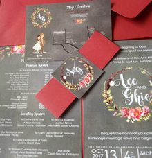 Rustic Invitation in Chalkboard by Ribbons and Prints