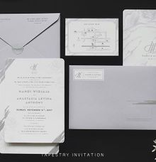 A monochromatic design with marblish pattern creates a simple yet sophisticated design by Tapestry Invitation