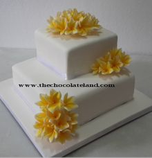 2 tiers wedding cake with frangipani flowers by The Chocolate Land