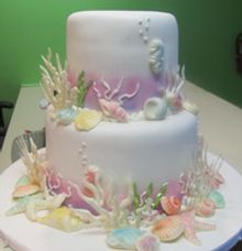 2 tiers wedding cake under the sea theme by The Chocolate Land