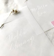 Delicate vellum place cards by Lustre Peach Paperie