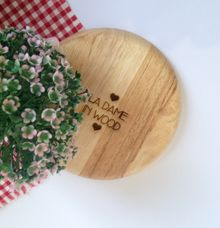 Engraved Wooden Plate by La Dame in Wood