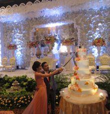 Simon & Tania Wedding Party at Sasana Kriya TMII by RR CAKES