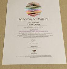 Certificate for Makeup by Areta Kristi Makeup Artist