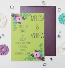 Chartreuse and plum floral invitations by Fancy Paperie